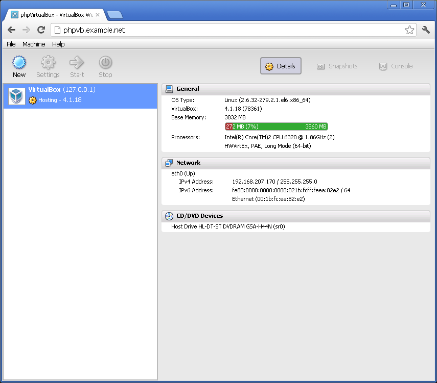 phpvirtualbox main screen