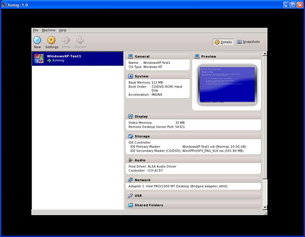 VirtualBox GUI: main window