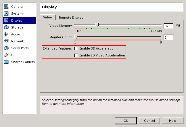 VM: advanced video settings